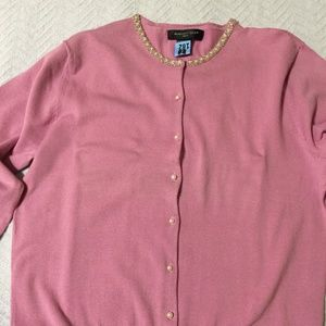 Pink Button Down Beaded Crewneck Sweater